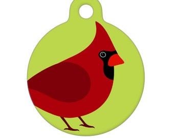 Pet ID Tag - Red Cardinal Pet Tag, Dog Tag, Cat Tag, Luggage Tag, Child ID Tag
