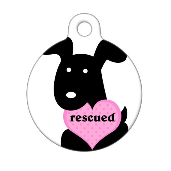 Pet ID Tag - Rescued Pup with Heart Pet Tag, Dog Tag, Luggage Tag