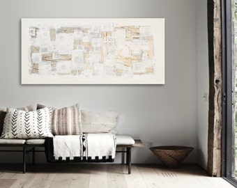 "Large 48"" x 24"" Original Abstract Painting - Contemporary Wall Art Decor - geometric - gold - line art - squares"