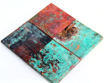 Real Copper Accent Tiles, Kitchen Back splash Blue Aged patina, artisan tin ceiling tile, rustic bathroom shower, green copper roof shingles