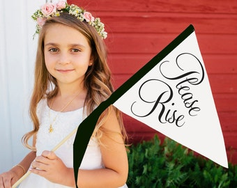 PLEASE RISE Wedding Ceremony Sign | Small Banner | Flower Girl Ring Bearer Flag | Script Graphics Pennant Classic Script Font 1163 SPW