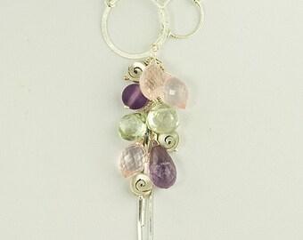 Multi Gem Lariat Necklace Cluster Purple Pink Green Amethyst Sterling Spirals Pastel Adjustable Y Necklace