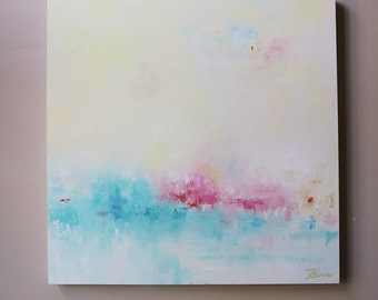 minimal Abstract,painting on canvas,wall art,canvas art,modean ,Acrylic painting,teal, turquoise,pastel color