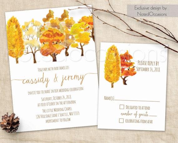 Fall Color Wedding Invitations: Fall Trees Wedding Invitation Set Rustic Fall Watercolor Fall