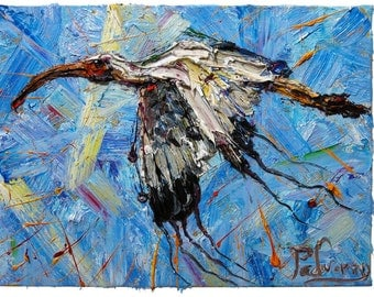 Oil Paint on Stretched Canvas of 24 by 18 by 3/4 in./ Oil painting original nature bird animal wildlife ocean aviation art