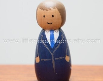 Wooden peg doll boy hand painted - cute boy in suit childrens toy