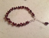 Garnet Bracelet - Red Jewelry - Gemstone Jewellery - Beaded - Luxe - Chic - Sterling Silver - Dainty - January Birthstone