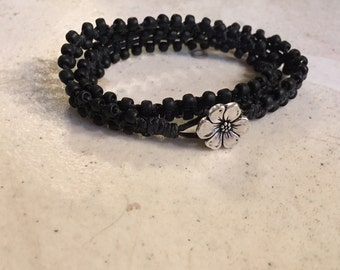 Black Wrap Bracelet - Macrame Jewelry - Black Seed Beads - Waxed Linen Cord - Fashion - Trendy - Beaded - Silver Flower Button
