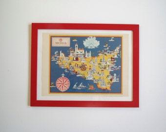 Vintage map of Sicily/ illustrated map of Italian region/ Tempo/Time magazine Italian edition