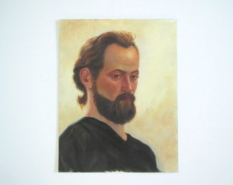 Vintage original oil portrait man/ bearded