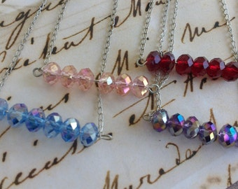 Pick your necklace swarovski crystal bar necklace