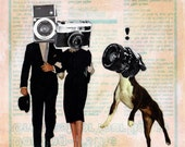 Small Giclee Print of my Original Collage - Paparazzo - Surreal Pop Surealism Celebrity Paparazzi iwearpartyhats Camera Photograpy Dog Weird