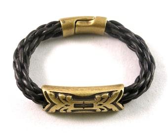 Braided Leather Bracelet with brass arrow bead