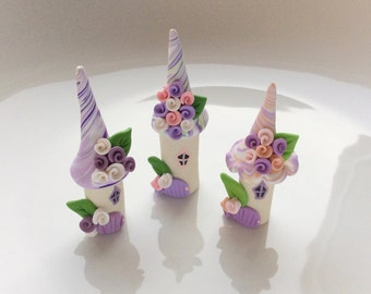 Cake topper, fairy cake decor, fairy houses, fairy house set, polymer clay houses, terrarium fairy set, miniature village