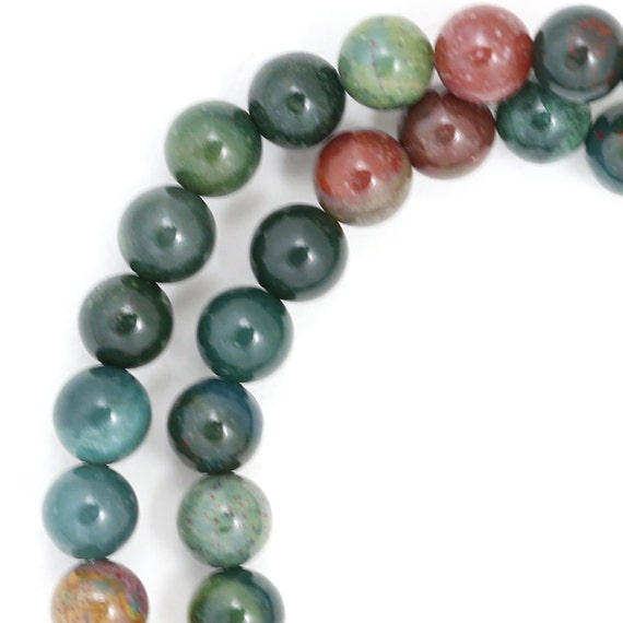 Indian Bloodstone Beads - 6mm Round - Full Strand