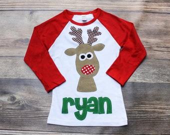 Christmas Shirt, Reindeer Shirt, Boys Christmas Shirt, Rudolph Shirt