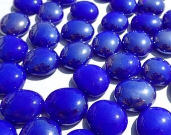 Cobalt Blue Iridescent Flat Back Glass Gems Mosaic Tiles - Set of 25 Vase Fillers Wedding Decor - Deep Blue