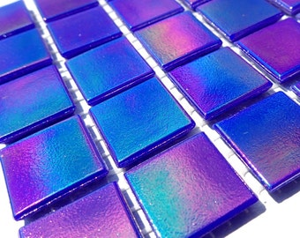 Cobalt Blue Iridescent Glass Mosaic Tiles Squares - 3/4 inch - 25 Tiles for Craft Projects and Decorations