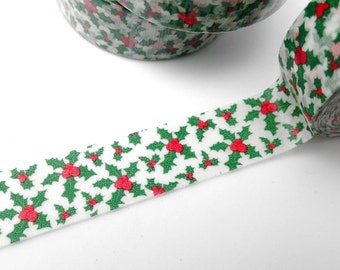 Holly with Berries Washi Tape - Nature Christmas Garland Holiday Paper Tape - Boughs of Holly Deck the Halls  - 15mm x 10m