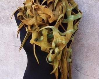 Handmade felted merino wool scarf