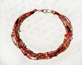 Necklace Multi Strand Seed Bead Necklace Beaded Necklace Red Necklace Red Black Green Variegated Vintage Beads Handmade Free Shipping