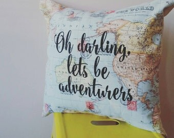 Oh Darling, let's be adventurers, world map home decor, cushion cover, slipcover