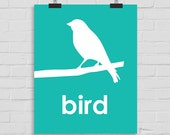Bird Wall Art, Nursery Wall Art, Bird Print, Kids Wall Art, Playroom Art, Childrens Art, Modern Nursery Print, Printable Art