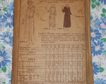 Vintage 1919 Original Butterick Deltor Pattern 4319 Day House Dress