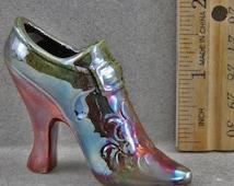 Decorative Raku Miniature Victorian Shoe Sculpture Decoration Blue And Red High Heel Shoe
