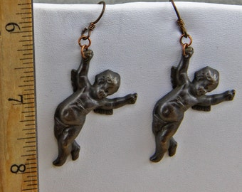 Handmade  Brass Hang In There Cherub  Dangle Earrings