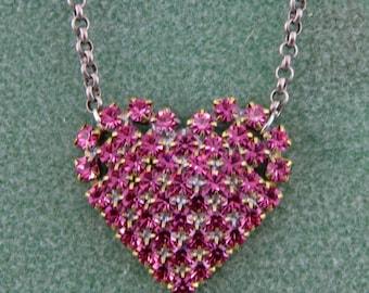 Handmade Pink Czech Glass Valentine Heart  Handmade Necklace 18 Inch Necklace by Harry W Wood of Oscarcrow