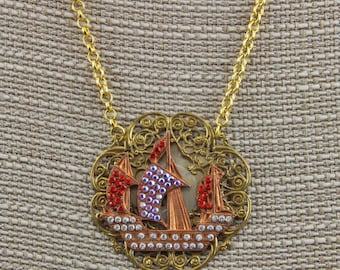 Handmade Hand Set Rhinestones Pirate Ship  Necklace Vintage Looking Victorian Pirate Style Oscarcrow