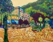 Mountain Town - Painting, Original Oil, Pine Trees, Snow Peaks, Mountains, Wildflowers, Downtown, Brick Street, Home Decor, Wall Art