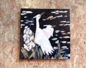 Chinoiserie style  Egrets Black and White Miniature Modern Painting - Dollhouse Size