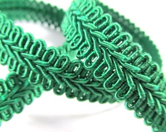 Emerald Green 1/2 inch or 13mm Romanesque Flat Gimp Trim sold by the yard