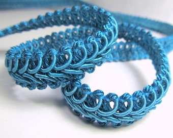 Blue Teal 1/2 inch Raised Heavy Gimp Decorator or Upholstery Trim
