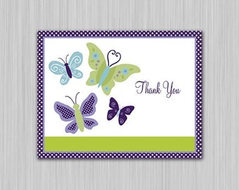 Printable Beautiful Butterfly/Butterflies Baby Shower Folded Thank You Card  U Print yourself
