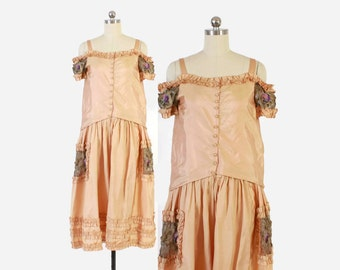 Vintage 20s Silk DRESS / 1920s Peach Silk Gold Lame Lace & Silk Rosettes Off the Shoulder Flapper Dress