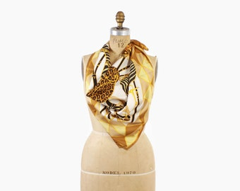 Authentic Vintage GUCCI Silk SCARF / 1990s Animal Print Saddles Equestrian BAROQUE Silk Twill Scarf