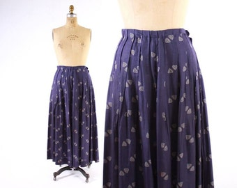 Vintage 20s SKIRT / Authentic 1920s Blue Silk Printed Pleated Skirt M