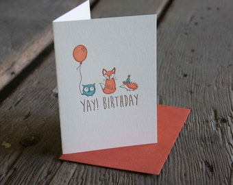 Yay! Birthday card, letterpress printed animals