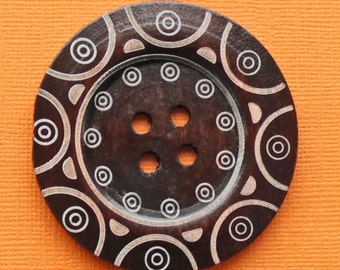 2 Huge Wood Buttons Extra Large 60mm Rich Brown with Abstract Design - BUT52