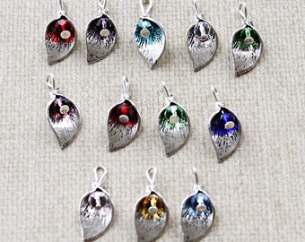 12 Birthstone Leaf Charms Entire Year with Faceted CZ Bead 3 Dimensional Beautiful Delicate Charm - Z211