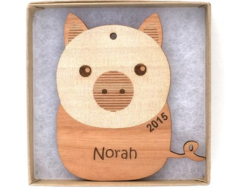 Pig Christmas Ornament, Farm Animal Ornament, Personalized Wood Animal Ornament, Custom Engraved Ornament, Wood Gift Tag