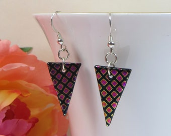 Dichroic Glass Pennant Shape Earrings with Sterling Silver, Dichroic Earrings, Colour Change Earrings, Delicate Pink Purple Silver Earrings