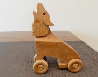 Howling Wolf Animated Mechanical Wood  Push Toy