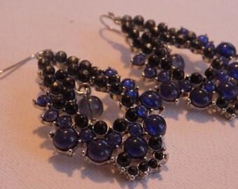 Vintage earrings, royal blue beads chandelier drop earrings, unique earrings, jewelry