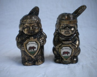 Vintage Native American salt and pepper shakers molded plastic copper Smoky Mountains souvenir
