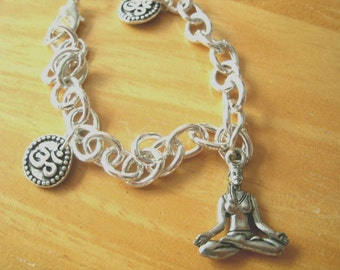 Charm Bracelet with OM Charms and Meditation Yoga Lotus Position with Hand Mudra / Ohm Aum Silverplated Pewter Charms / Meditating Talisman