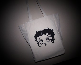 Natural Canvas Betty Boop Tote Bag , One of a Kind Market Bag, Carryall